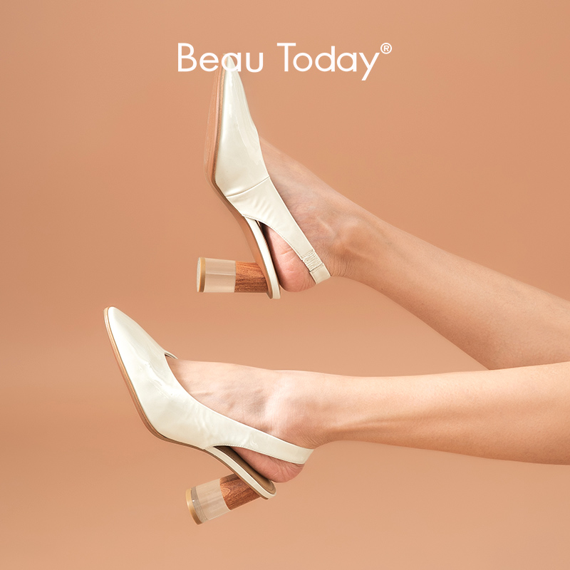 BeauToday Pumps Women Patent Leather High Heel Sandals Sling Back Elastic Band Round Toe Summer Ladies Shoes Handmade 31072