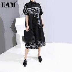 [EAM] женское длинное платье-рубашка с принтом большого размера, новое свободное платье с отворотом и коротким рукавом, весна-лето 2020 1Y131