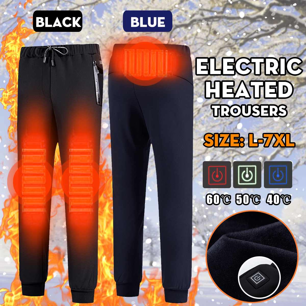 L-7XL Men Winter Heated Pants Outdoor Sports USB Electric Heated Warm Fleece Trousers For Trekking Camping Hiking Fishing