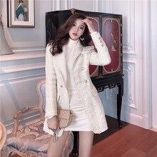 Luxury Brand Long Tweed Blazers Women Fashion Runway Elegant Blazer Femme Jacket