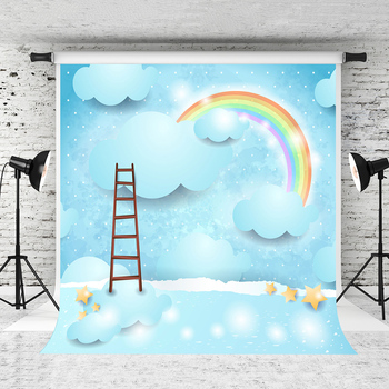 VinylBDS Children Background For Photography Blue Sky  Clouds Photography Backdrops Ladder Rainbow Backgrounds For Photo Studio