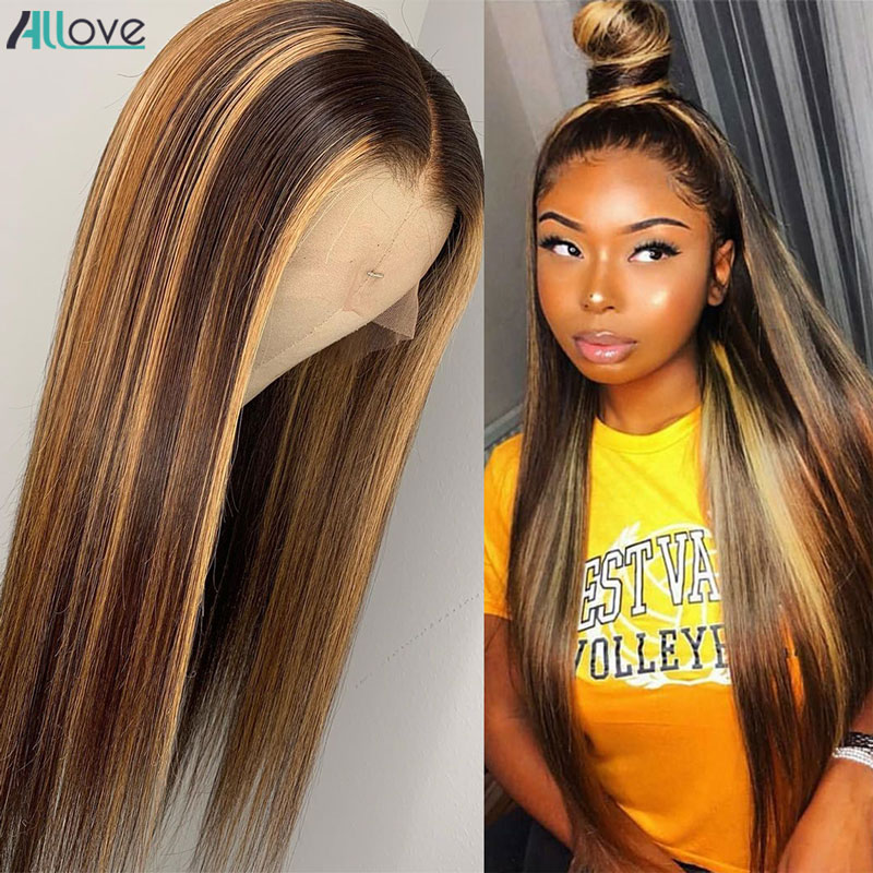 Allove Honey Blonde Lace Front Wigs Highlight Brown Lace Front  Wigs  Bone Straight  Wig Ombre Wig 4