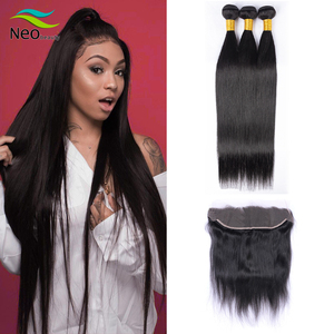 10 A cambodian straight hair bundles with frontal 13x4 forntal with bundles Non-remy hair for free shipping(China)