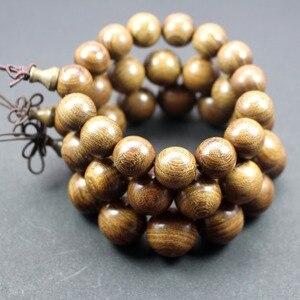 Image 3 - Sprzedaż hurtowa z prawdziwego drzewa sandałowego Vintage mala koraliki bransoletki buddyjski różaniec modlitwa joga medytacja szczęśliwa bransoletka dla kobiet mężczyzn