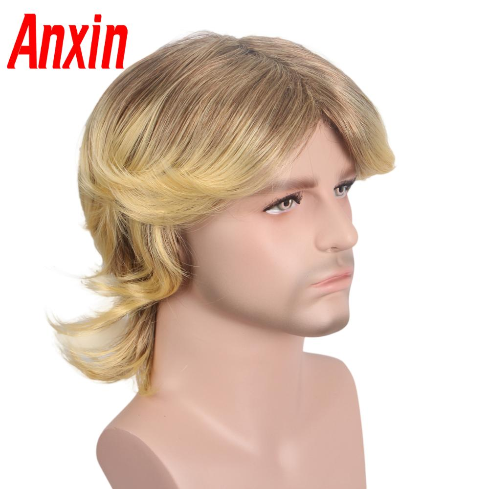 Anxin Short Blonde Wigs For Men Synthetic Wig Golden Color Hairs Toupee High Temperature Heat Resistant Cosplay Wigs For Women