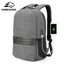 Kingsons 15 인치 노트북 배낭 USB 충전 도난 방지 배낭 남자 여행 배낭 방수 학교 가방 남성 Mochila