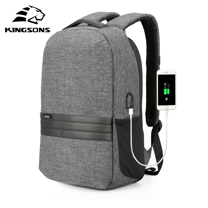 Kingsons 15 Inch Laptop Backpacks USB Charging Anti Theft Backpack Men Travel Backpack Waterproof School Bag Male Mochila