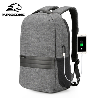 Kingsons 15 inch Laptop Backpacks USB Charging Anti Theft Backpack Men Travel Backpack Waterproof School Bag Male Mochila frn business usb charging bag men 17 inch laptop backpack waterproof high capacity mochila antitheft casual travel backpack bag