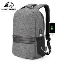 Kingsons Laptop 15 Inch Ốp Lưng Sạc USB Chống Trộm Ba Lô Nam Ba Lô Du Lịch Chống Nước Học Nam Mochila