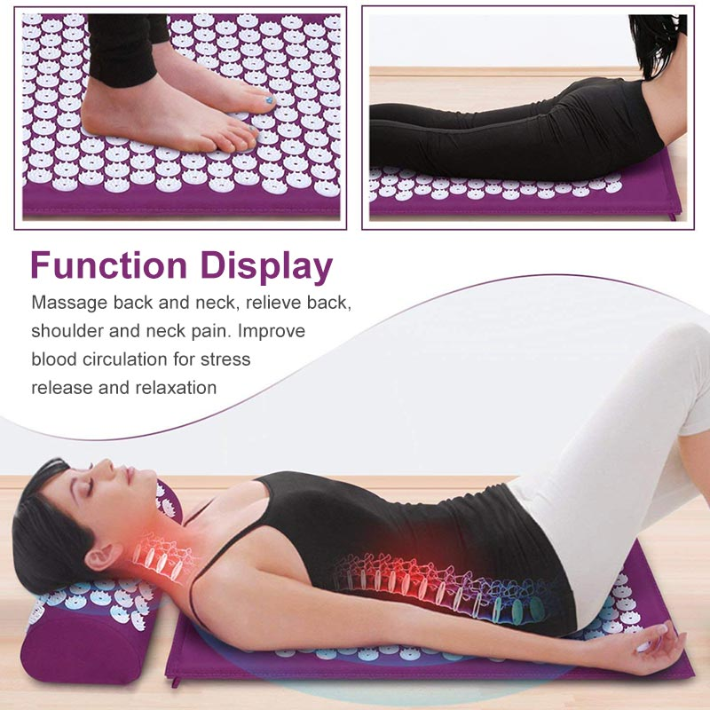 Non-Slip Acupressure Cushion Massage Mat Body Pain Spike Fitness Pilates Exercise Pillow Yoga Mat Gift Bag Applicator 3