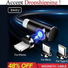 INIU 2 м Быстрый Магнитный кабель Micro usb type C зарядное устройство для iPhone XS X XR 8 7 samsung S8 магнит Android телефонный кабель Шнур