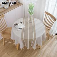 GIANTEX Dekorative Tisch Tuch Baumwolle Tischdecke Runde Tischdecken Esstisch Abdeckung Obrus Tafelkleed kaminsims mesa nappe