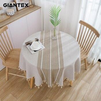 Giantex decorativo toalha de mesa de algodão toalha de mesa redonda toalha de mesa de jantar capa de mesa obrus tafelkleed mantel mesa nappe