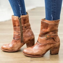Women mid-calf boots high heels matin shoes vintage  booties woman botas mujer invierno w35