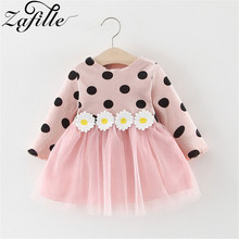 ZAFILLE Baby Girl Dress Mesh Girls Long Sleeve Dot Dresses Cotton Bute Clothes Princess