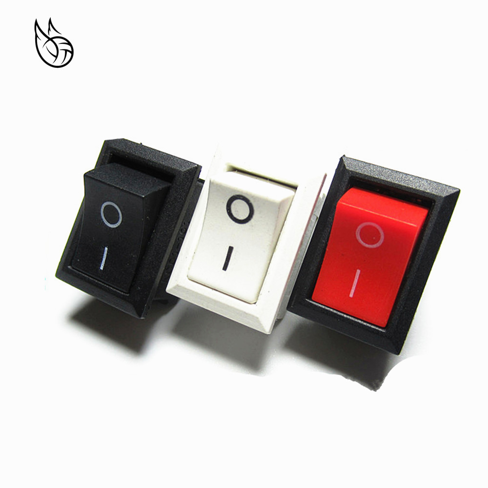 10PCS Black/Red/White Push Button Mini Switch 6A-10A 250V KCD1-101 2Pin Snap-in On/Off Rocker Switch 21*15MM