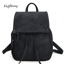 Students School Bag Gray Fashion Travel Bags Women Leather Backpack Large Black Drawstring Backpacks For Teenage Girls