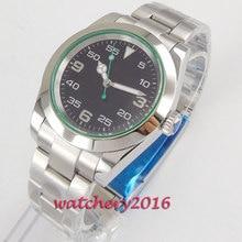 цена 40mm Bliger Black Dial Sapphire Glass Stainless Case Luminous MIYOTA 8215 Luxury Automatic Movement men's Watch онлайн в 2017 году