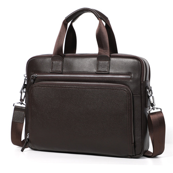 Nesitu New A4 Black Coffee Genuine Leather 14'' Laptop Office Men's Briefcase Handbag Business Men Messenger Bag Portfolio M6005