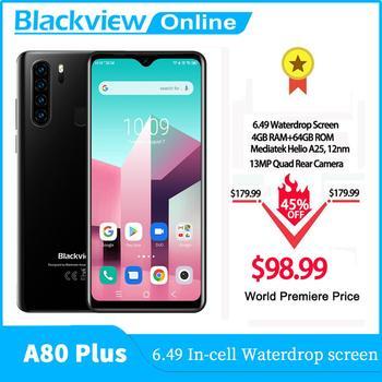 Blackview NEW A80 Plus Mobile Phone Octa Core 4GB RAM+64GB ROM IMX 13MP Rear Camera Face ID Fingerprints Waterdrop 4G Cellphone