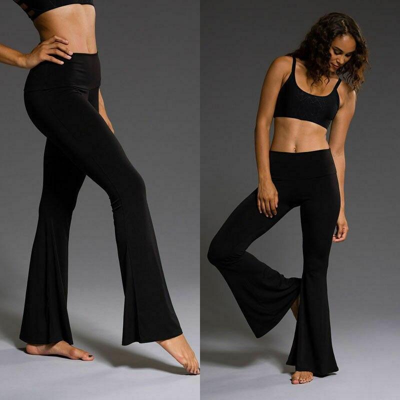 Fashion Women Ladies Long Pants Solid Black Slim Sexy Flare Pants High Waist Loose Casual Gym Sports Capris