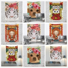 lucky cats Cassisy Lucky Cats Fashion Tapestry Tiger Dog Water-color Wall Hangings Polyester Customized Room Carpets Beach Towel Dorm Decor