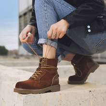 2019 Snow Boots Men New Genuine Leather Military Walk Safety Shoes Woman Boots Punk Women's High Ankle Boots High Quality Women цена