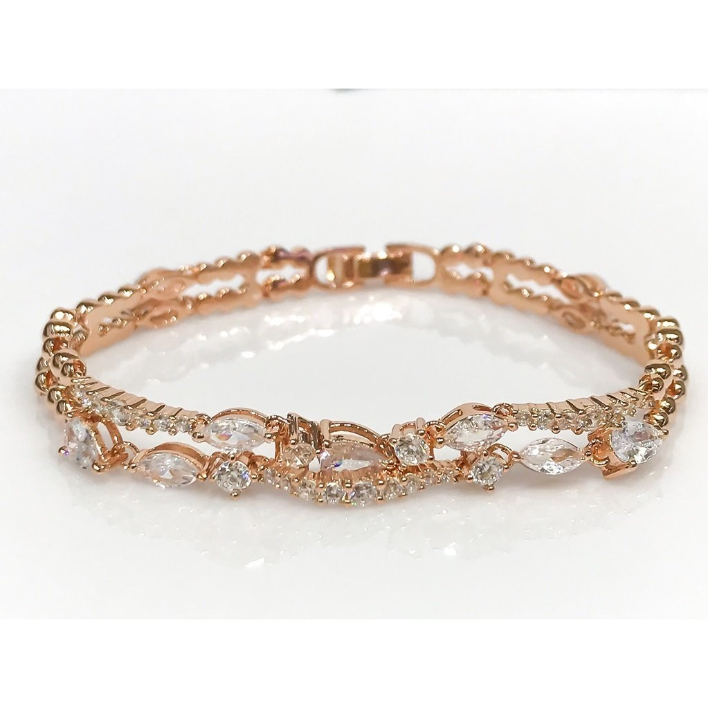 Marquise Watercourse Special Design Rosegold Silver Bracelet
