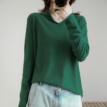 High quality Pullover knitted cashmere sweater  long sleeve V-collar sweater women  pull femme nouveaute 2019 rohopo semi high collar puff long sleeve pullover sweater vertival ribbed elasticity waistband knitted thick tops 2314