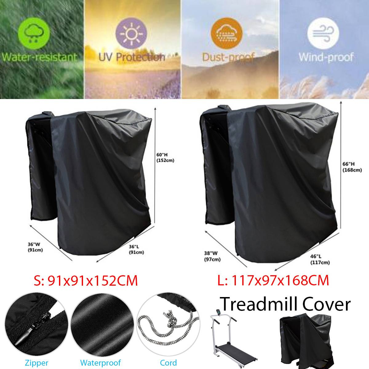 2 Size Indoor Outdoor Waterproof Treadmill Cover Running Jogging Machine Dust Proof Shelter Protection Treadmill Dust Covers
