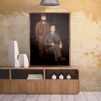 Portrait of Dwight Schrute and Mose Schrute Canvas Painting 2