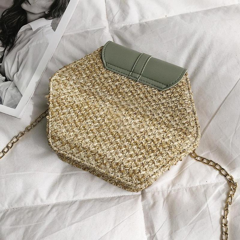 แฟชั่นหกเหลี่ยม Mulit สไตล์ + กระเป๋า pu กระเป๋าถือผู้หญิงฤดูร้อนกระเป๋าหวาย 4