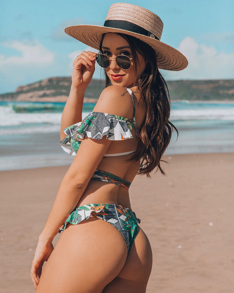 H132b253f914d45e8b5e0705f38f7a6dbv Hot Sale Off The Shoulder Print Ruffled Bikini Mujer 2018 New Sexy Swimwear Women Swimsuit Brazilian Bikini Set Thong Biquinis
