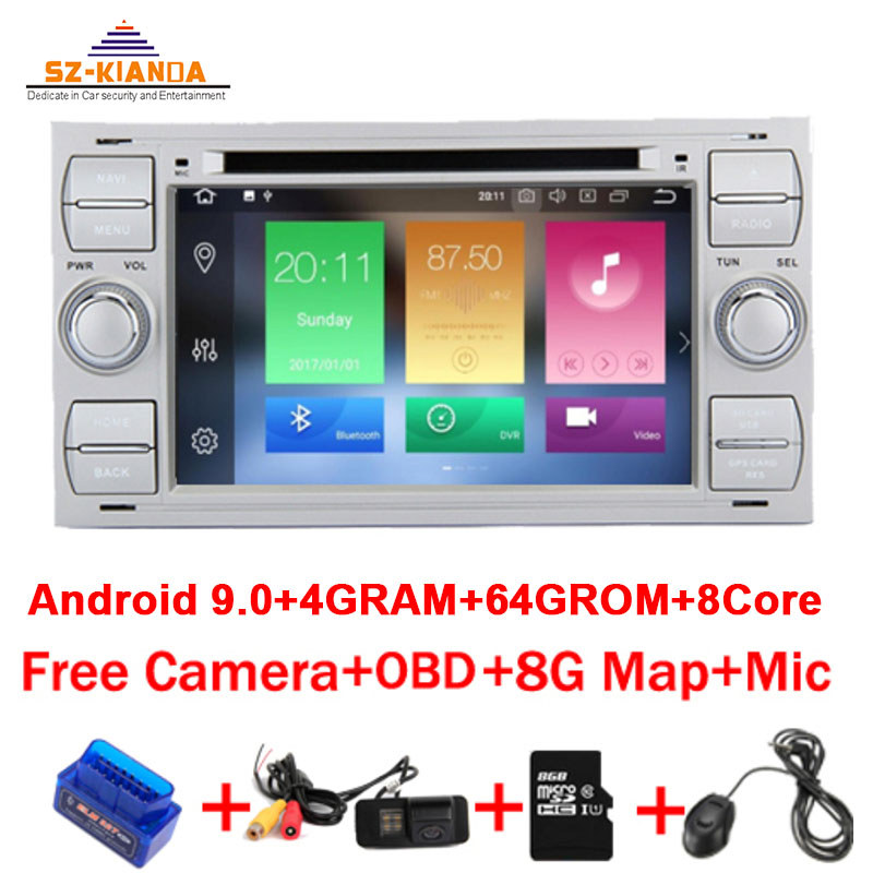 4G+64G 8 Core <font><b>Android</b></font> 9.0 Car Radio dvd <font><b>gps</b></font> for Ford Focus Kuga Transit Fusion GALAXY 4G Wifi Bluetooth RDS Free map OBD image