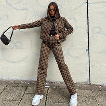 Vintage Houndstooth Tracksuits Women's Stragiht Pants And Cropped Jacket Fashion 2020 Y2k Two Piece Set Winter Female Outfits