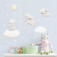 Pegatinas de pared de dibujos animados de estrellas y nube, pegatina de Animal de elefante para decoración de habitación de bebés y niños, calcomanías de vinilo de estilo nórdico para guardería