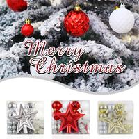 50 Pcs Set Christmas Tree Decoration Pendant Christmas Ball Gift Package Tree Top Star Xmas Party Ornament Decorations For Home
