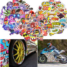 50pcs Waterproof Vinyl Bike Stickers Scooter Decor Car Motorcycle Bicycle Skateboard Laptop Luggage Neon Light Stickers Decals(China)