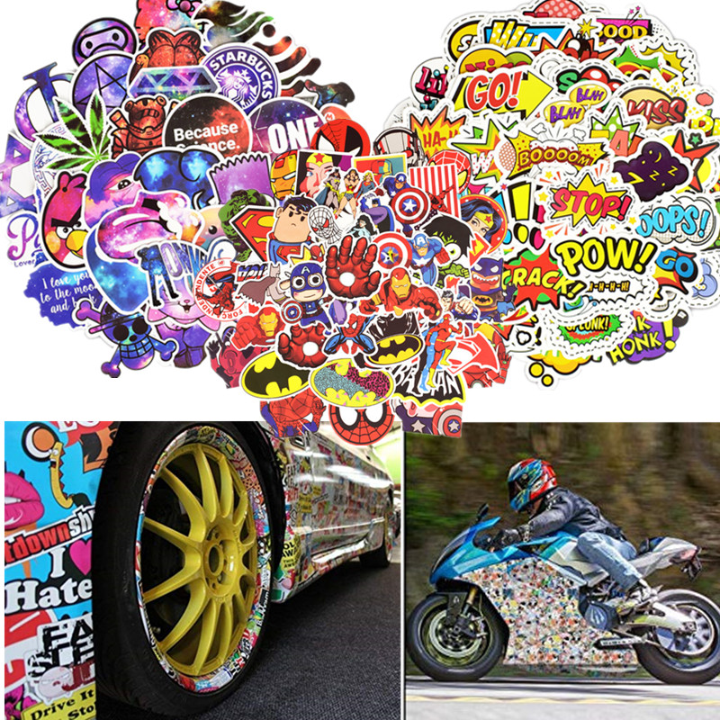 50pcs Waterproof Vinyl Bike <font><b>Stickers</b></font> <font><b>Scooter</b></font> Decor Car Motorcycle Bicycle Skateboard Laptop Luggage Neon Light <font><b>Stickers</b></font> Decals image