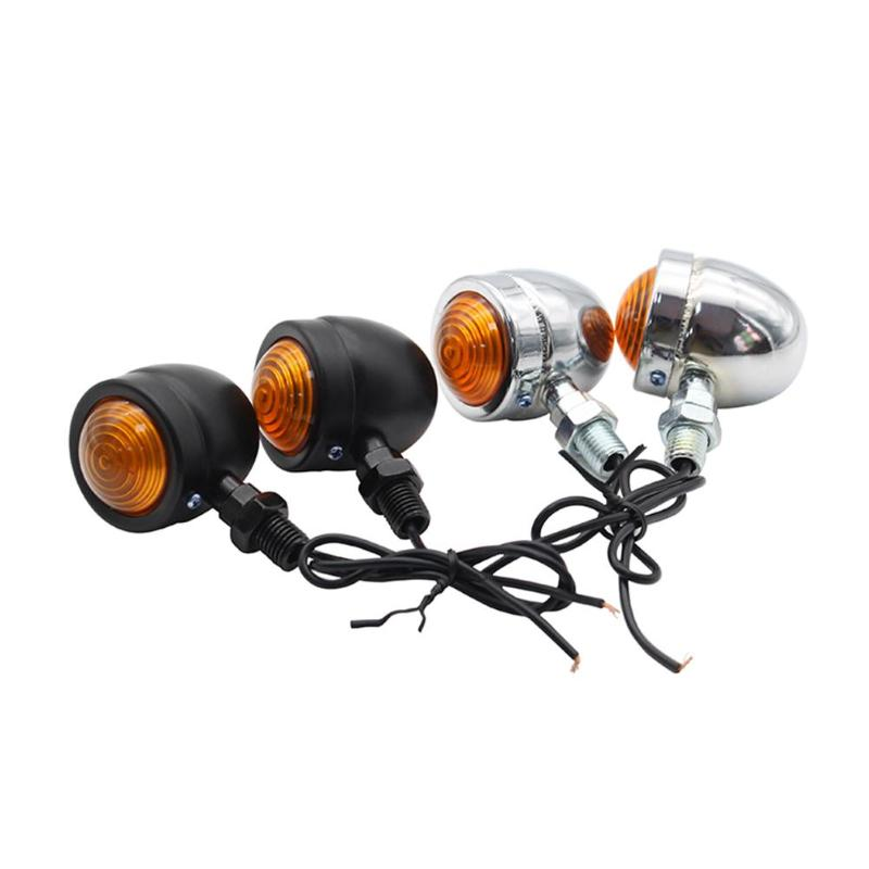 VODOOL Durable Motorcycle Turn Signal Lights 1 Pair Mini Retro Motorcycle Turn Signal Lights 1-Wire Amber Motorbike Blinkers