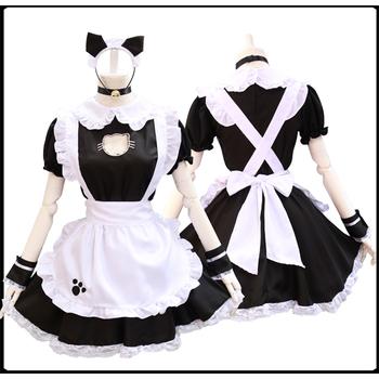 Czarny słodki kociak Lolita pokojówka sukienka kostiumy Cosplay garnitur dla dziewczyn kobieta kelnerka pokojówka kostiumy sceniczne tanie i dobre opinie HAIMAITONG CN (pochodzenie) Sukienki anime WOMEN Zestawy Materiał funkcja Mermaid Cloak