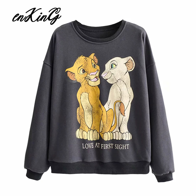 The Lion King Women Clothing Sweatshirt Streetwear Print Spring 2019 Fashion O Neck Long Sleeve Oversize Pullover Sweatshirts