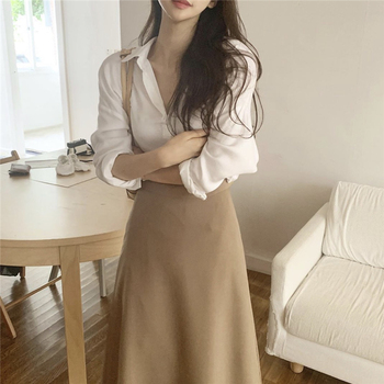 Korean Minimalist Two Piece Set Women Skirt for Autumn Long Sleeve Blouses and High Waist Long Skirt 2 Piece Set Women Outfits 1