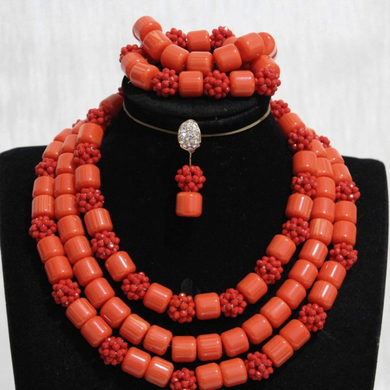 Dudo African Artificial Coral and Crystal Bead Balls Fashion Designer Necklace Set With Bracelet and Earrings 3 Layers Dubai Set