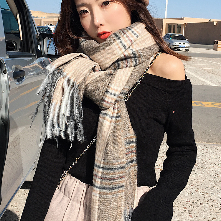 Korean-style Scarf Women's Plaid Thick Long Oversized Shawl Japanese Korean Sweet Students Couples Cotton Scarf