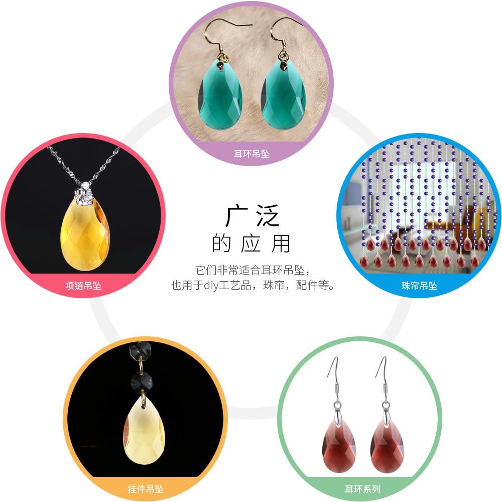 10 Fashion Necklace Earring Jewelery Making Teardrop Glass Craft Loose Bead 22mm