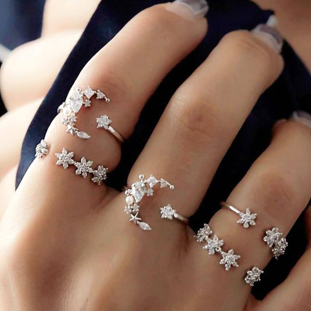 5 набор колец Новое богемное Винтаж Для женщин сплава в форме звезды, Луны кольца в стиле панк для Для женщин украшения для влюбленных кольца...