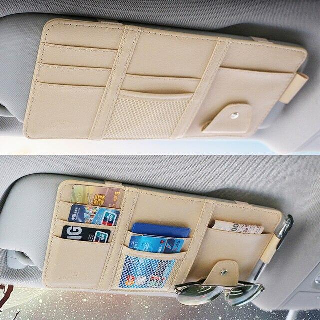 pare-soleil de voiture Sac de rangement de pare-soleil de voiture, organisateur universel de voiture, boîte de rangement en cuir Pu pour cartes, billet, rangement de clés 6