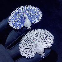 animal peacock brooch pins prevent wardrobe malfunction 925 sterling silver with cubic zircon white color peacock elegant