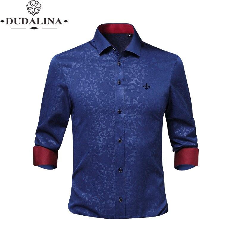 Free Ironing Jacquar Fashion Blusa Camisa Social Masculina Dudalina Long Sleeve Slim Fit Shirt Men Floral Clothing Male